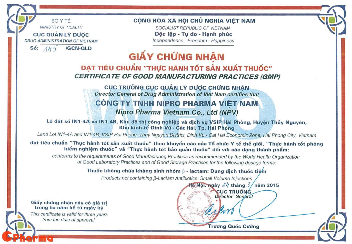 Chứng chỉ GMP WHO dành cho Nipro Pharma Vietnam
